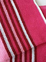 Полотенце лицевое махровое розовое с полосочкой 100*50