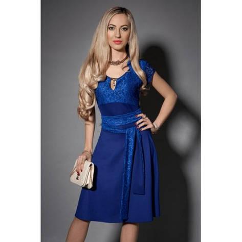 Нарядное женское платье синее с гипюром, фото 2