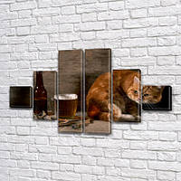 Необычная модульная картина Пиво и Кот на ПВХ ткани, 75x130 см, (20x20-2/45х20-2/75x20-2), фото 1