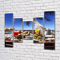 Модульная картина Тропический пляж (пальмы, коктейли) на ПВХ ткани, 90x110 см, (90x20-2/60х20-2/45x20), фото 1