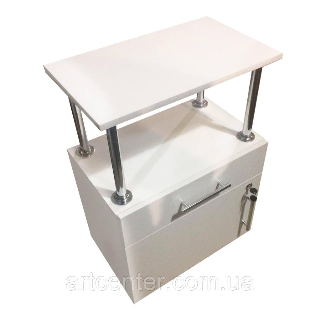Тумба мобильная белая с выдвижным ящиком и закрытой полочкой