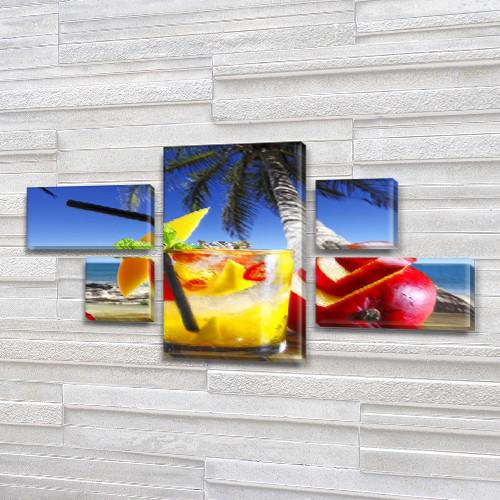 Модульная картина Экзотический коктейль и Пальма (пляж, остров) на Холсте, 80x140 см, (25x45-2/25х25-2/80x45)