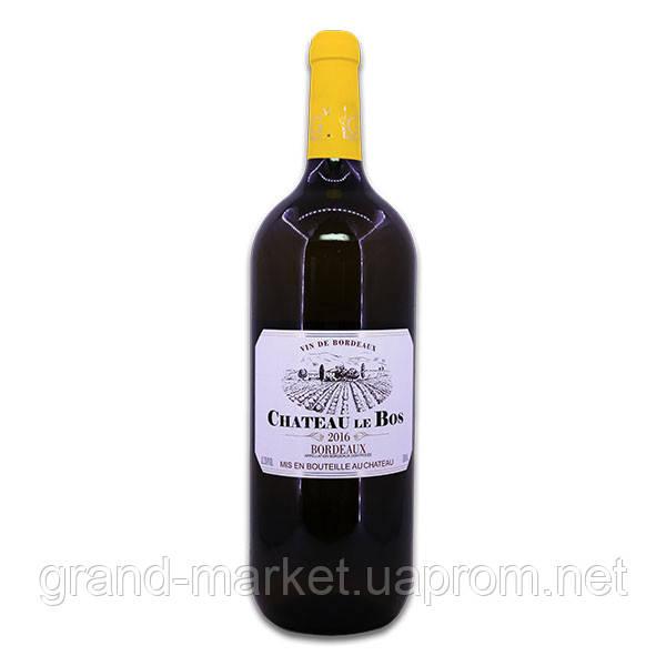 """Вино белое """" Chateau le Bos Bordeaux 2016 """" 1.5 l"""