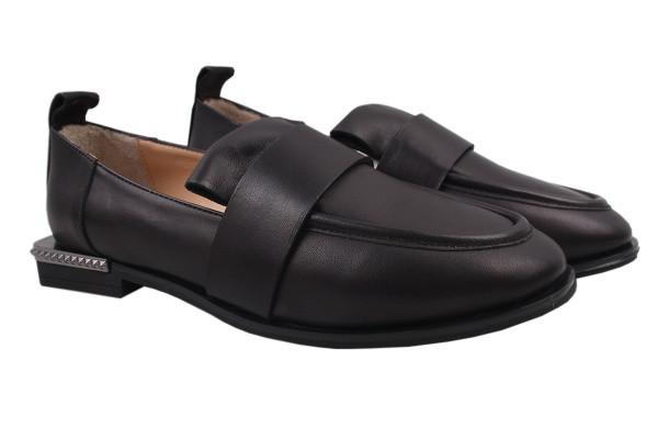 Туфли женские на низком ходу из натуральной кожи, черные Aquamarin (39р)