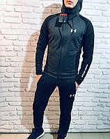 Спортивный костюм мужской в стиле Under Armour весенний / осенний черно-серый