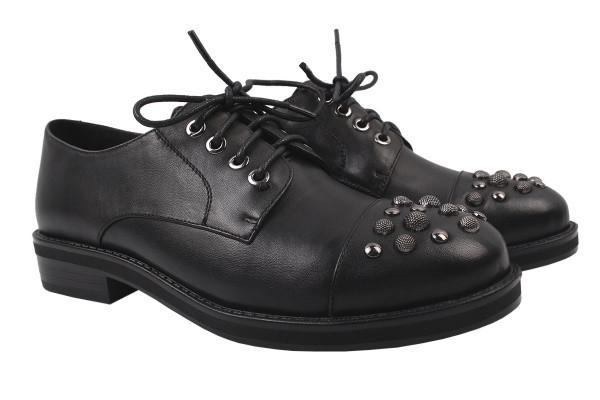 Туфли женские на низком ходу из натуральной кожи, черные на шнуровку Belorddini