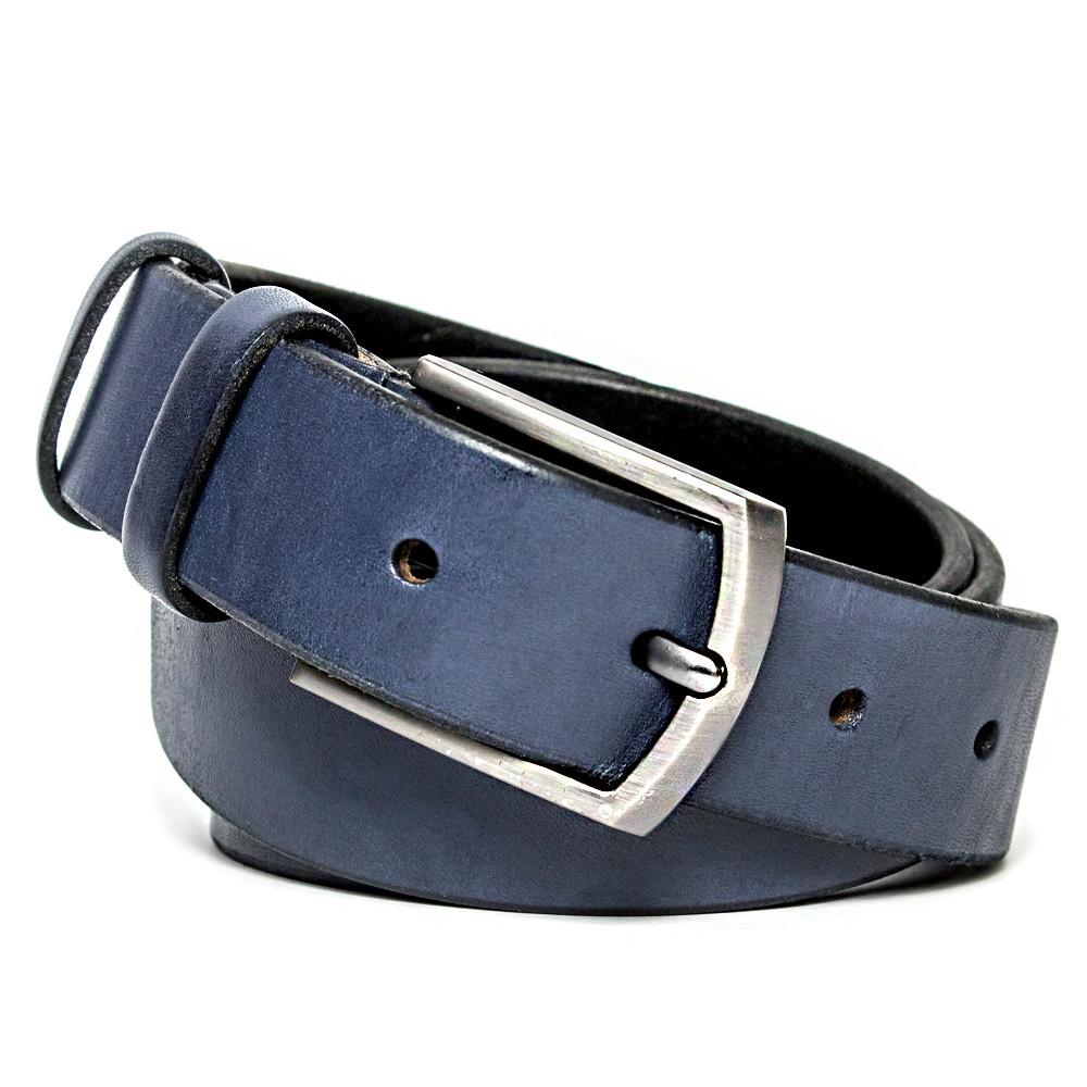Ремень мужской кожаный KB-35 blue (3,5 см)