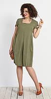 Платье Галеан стиль-685/1 белорусский трикотаж, хаки, 50
