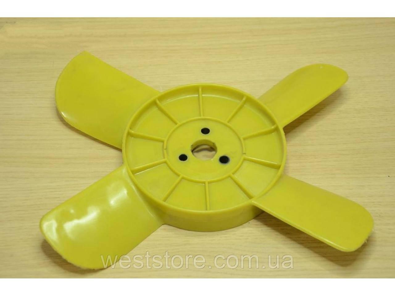Крыльчатка вентилятора радиатора Ваз  2101 2102 2103 2104 2105 2106 2107 4-х лопастная желтая Россия