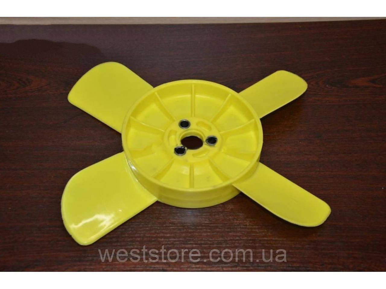 Крыльчатка вентилятора радиатора Ваз 4-х лопастная желтая Украина