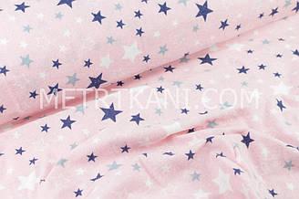 """Фланель   """"Разноцветный звездопад"""" синие и белые звёзды на розовом фоне № 1397"""