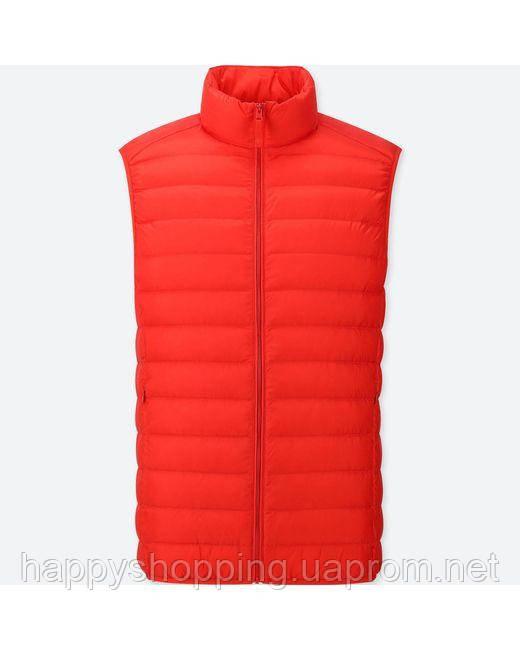 Мужская ярко-красная  жилетка на пуху весна осень популярного японского бренда Uniqlo