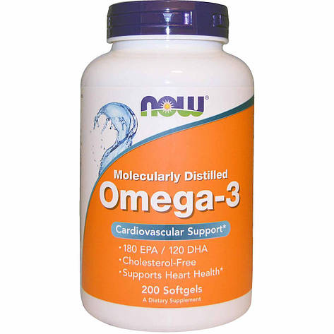 Рыбий жир Now США Omega-3 200 softgels, фото 2