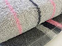 Полотенце для рук махровое серое с розовым 70*40