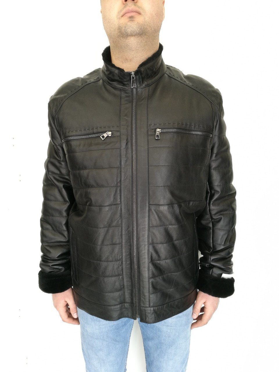 Дубленка мужская натуральная (на молнии) с декоративными строчками (стеганая)/  sheepskin coat for men 350