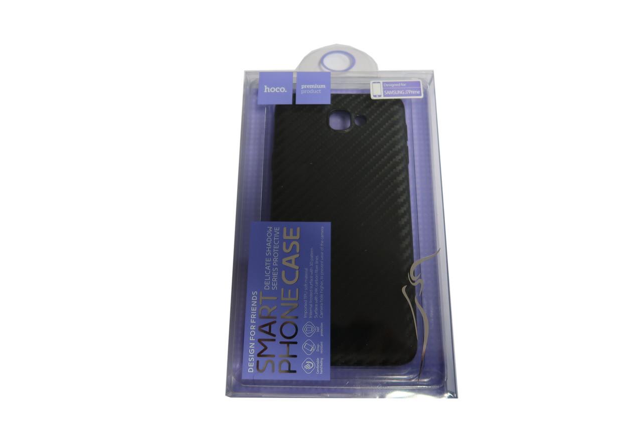 Чехол под карбон силиконовый для Samsung J7 Prime black