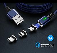3 в 1 Магнитный кабель 3A микро USB зарядка и передача данных