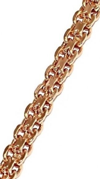 Браслет фирмы Xuping, цвет позолота с красным оттенком. Длина 19 см. Ширина 4 мм. Плетение: бисмарк плоский.