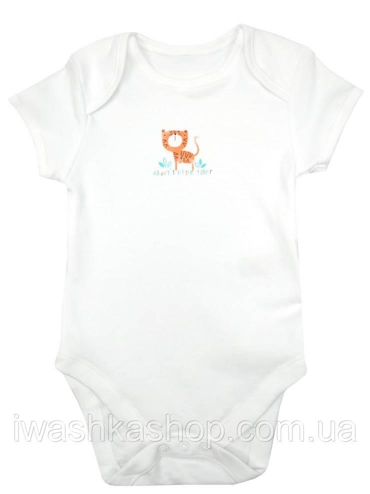 Біле боді з коротким рукавом з тигром для малюків 9 - 12 місяців, розмір 80, Primark baby, Німеччина