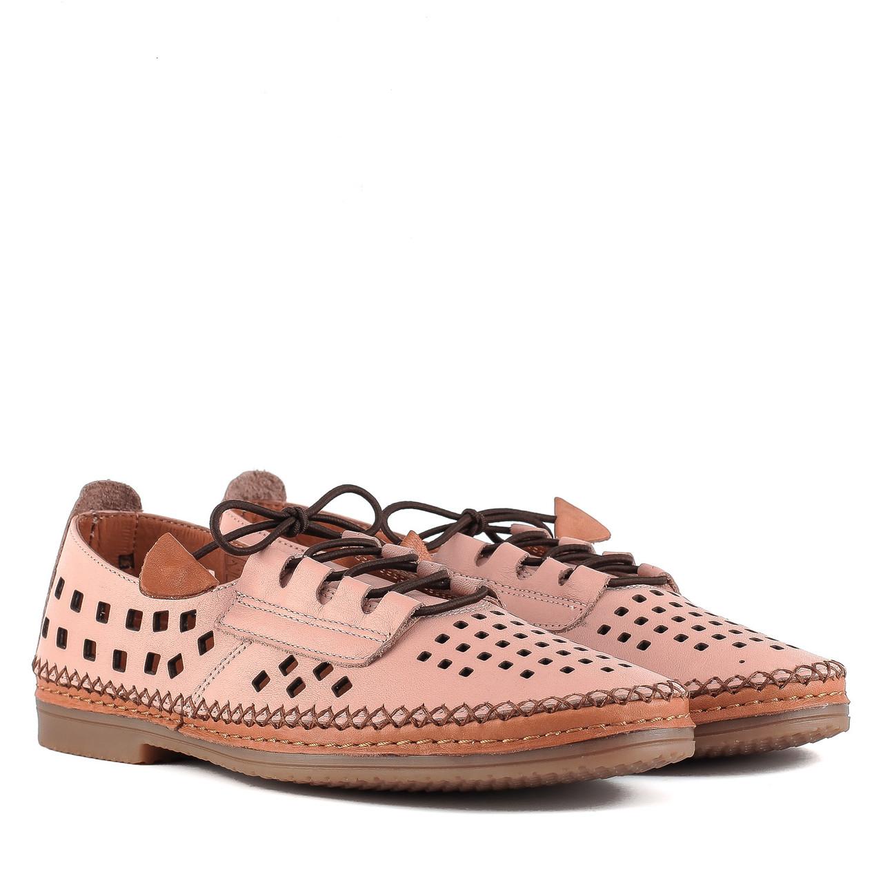 Туфли женские PHANY (розовые, на шнурках, кожаные, с перфорацией)