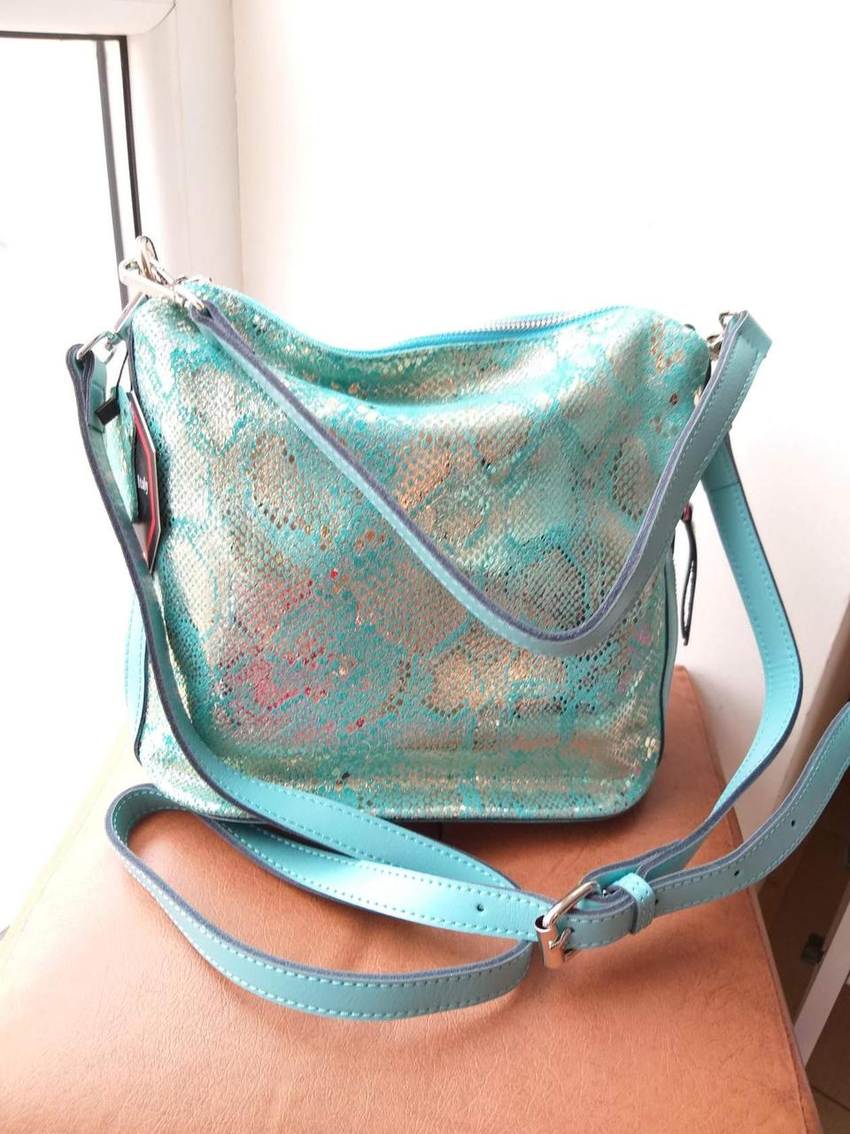 Женская кожаная сумка бирюзового цвета