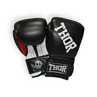 Перчатки боксерские кожаные TTHOR RING STAR (Leather) BLK-WHITE-RED прочные, черного цвета