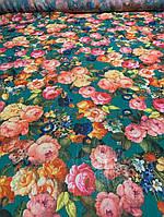 Ткань бирюзовый шифон весна, фото 1