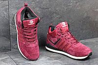 Мужские зимние кроссовки Adidas Neo бордовые 3544