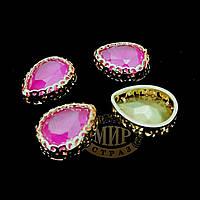 Стразы в ажурных цапах Люкс, форма Капля, цвет Candy Rose, 10х14мм, 1шт