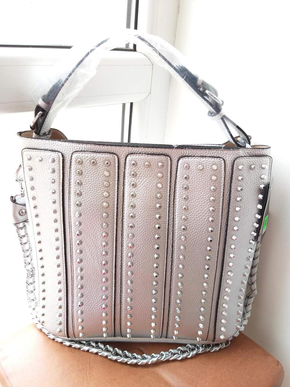 Женская сумка серебро 2 в 1 (сумка+клатч)