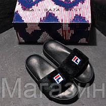 Женские сланцы Fila Slippers Fur Black шлепанцы Фила черные с мехом, фото 2