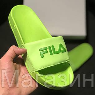 Женские сланцы Fila Slip Drifter Green шлепанцы Фила салатовые, фото 2