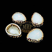 Стразы в ажурных цапах Люкс, форма Капля, цвет White Opal, 10х14мм, 1шт