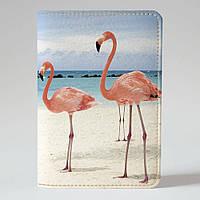 Обложка на паспорт Fisher Gifts 733 Фламинго и море (эко-кожа)