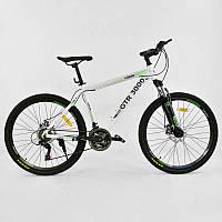 """Велосипед Спортивный CORSO GTR-3000 26""""дюймов JYT 003 - 7322 WHITE-GREEN (1) рама алюминиевая, 21 скорость, собран на 75"""