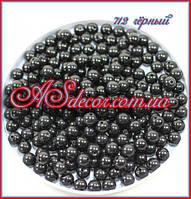 Бусины 10 мм - цвет чёрный