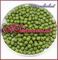 Бусины 10 мм - цвет оливковый