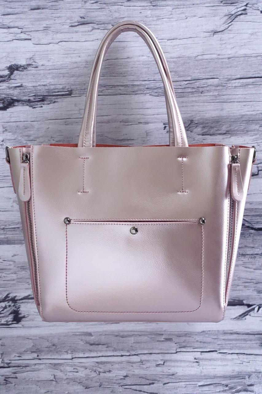 Перламутровая сумка из натуральной кожи 112-2 bright purple