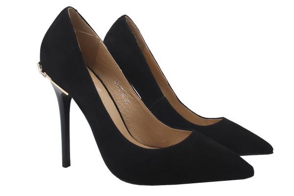 Туфли женские на шпильке из натуральной замши черные Erisses