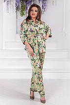 """Шелковый женский брючный костюм """"Goldy"""" с цветочным принтом (большие размеры), фото 2"""