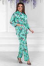 """Шелковый женский брючный костюм """"Goldy"""" с цветочным принтом (большие размеры), фото 3"""
