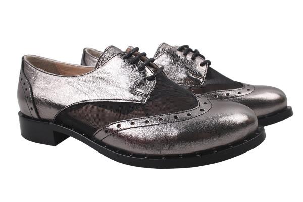 Туфли женские на низком ходу из натуральной кожи, серые на шнуровку Euromoda Турция