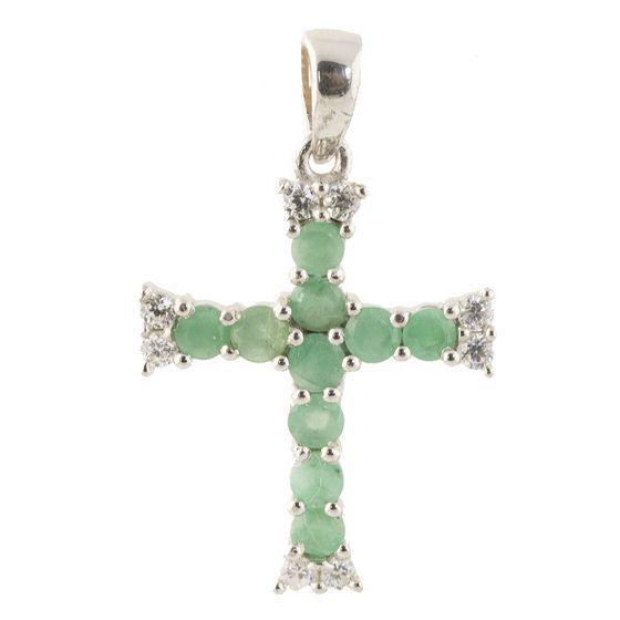 Родированный серебряный крестик 925 пробы с изумрудом
