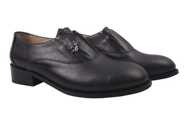Туфли женские на низком ходу из  натуральной кожи черные Euromoda Турция