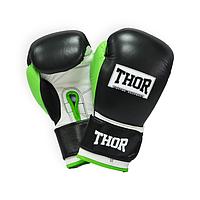 Перчатки боксерские кожаные THOR TYPHOON (PU) BLK-GRN-WHT прочные, черного цвета