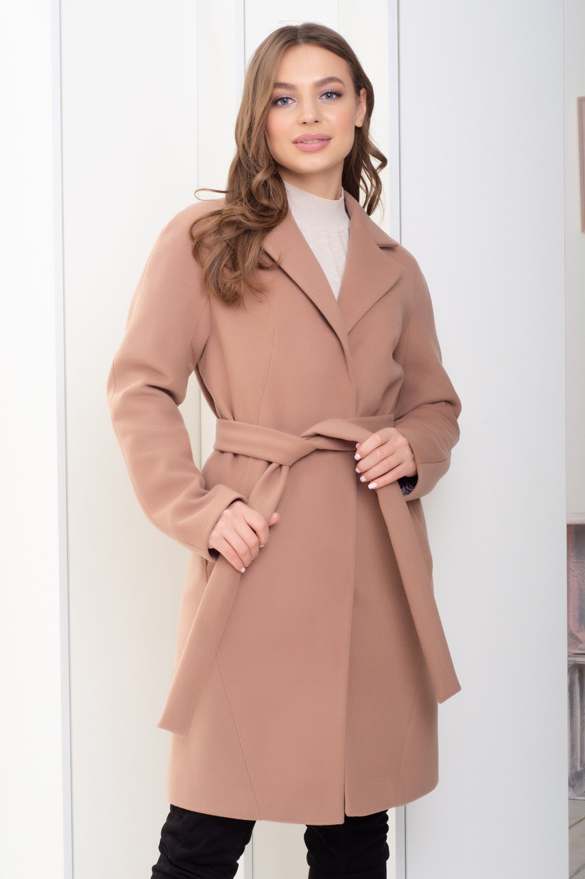 Женское кашемировое пальто с поясом в расцветках, р-р 48-50. Т-2-1-0818