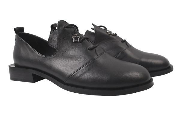 Туфли женские на низком ходу из натуральной кожи, черные Euromoda Турция