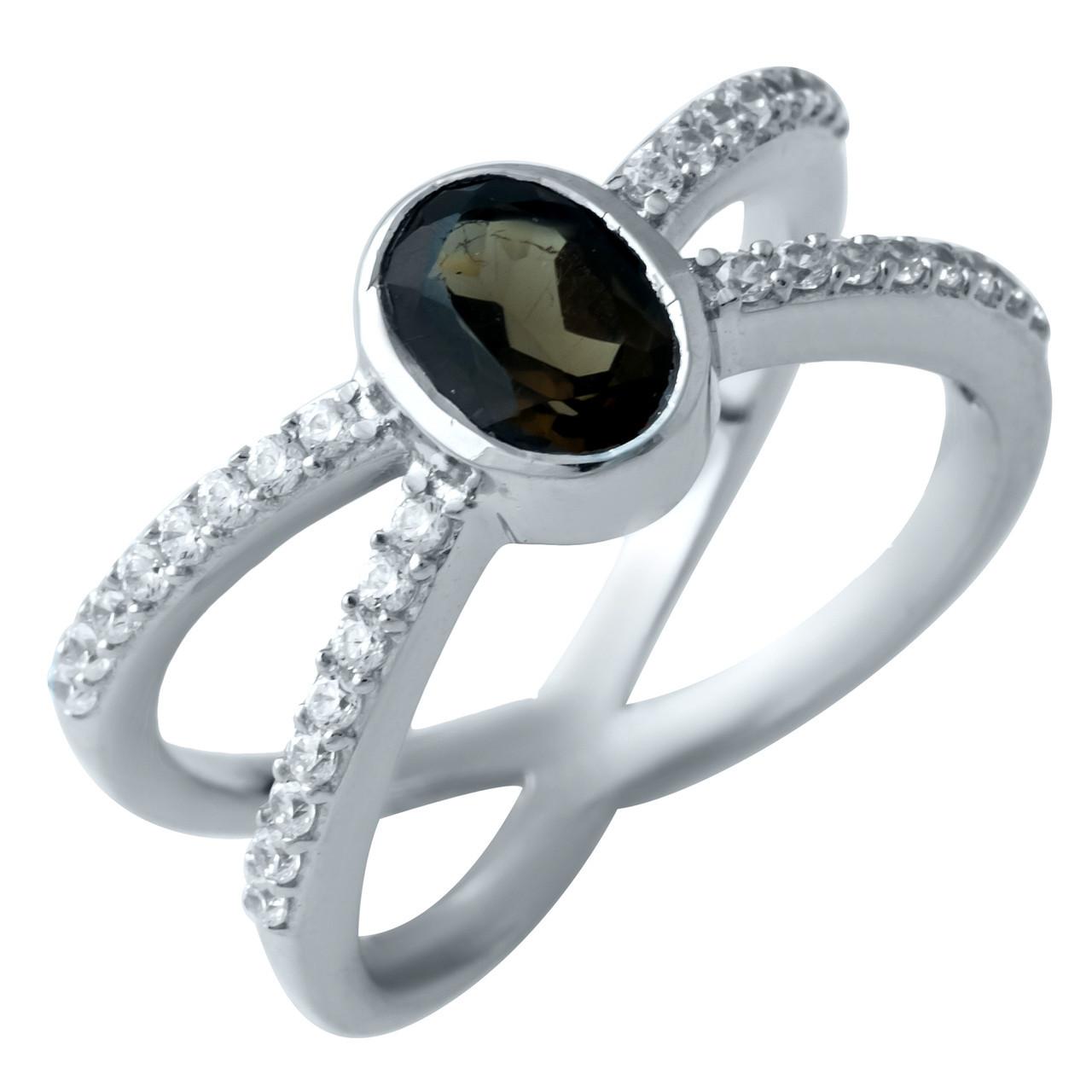 Родированное серебряное кольцо 925 пробы с натуральным раухтопазом (димчатим кварцем)