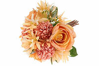 Букет из роз с добавками, высота 32 см, кол-во веток 10, материал шелк/пластик, 3 розы, 3 хризантемы+добавки, диаметр букета 23 см, цвет оранжевый,