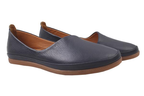 Туфли женские на низком ходу из натуральной кожи, синие Estile Турция
